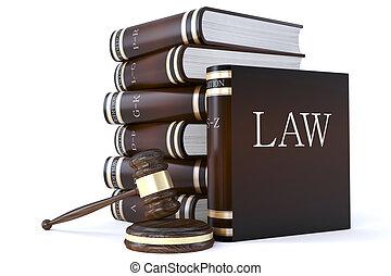 martillo, libros, colección, ley