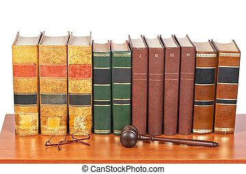 martillo madera, libros, viejo, ley