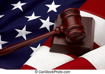 martillo, norteamericano, vida, todavía, bandera