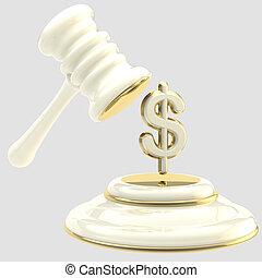 martillo, penalty:, rotura, muestra del dólar