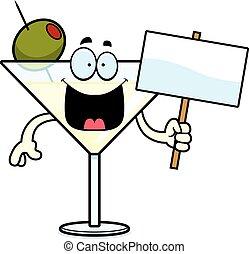 martini, caricatura, señal
