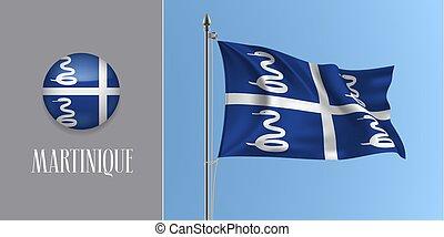 Martinica ondeando bandera en el asta de bandera y la ilustración de vectores de icono redondo