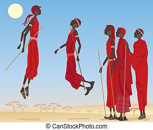 masai, bailando