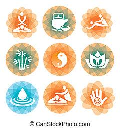 masaje, balneario, símbolos, fondos