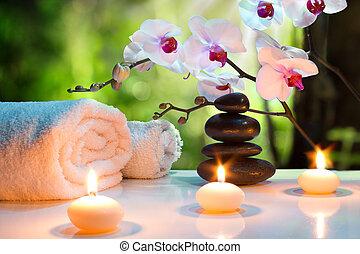masaje, vela, composición, balneario