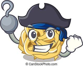 mascota, aislado, fettucine, pirata