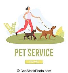 mascota, aterrizaje, página, plano, servicio, vector, ambulante