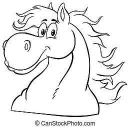 mascota, blanco, cabeza, negro, character., caricatura, caballo