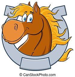 mascota, carácter, cabeza, caricatura, caballo, horseshoe.