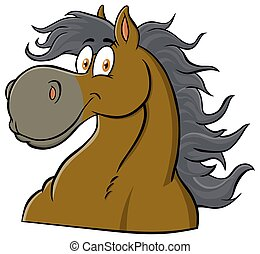 mascota, carácter, cabeza, caricatura, caballo