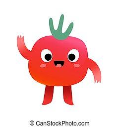 mascota, cara, divertido, expresión, cereza, dulce, carácter, ilustración, aislado, kawaii, lindo, tomate, ondulación, vegetal, hola, caricatura, vector, blanco
