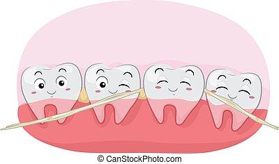 mascota, dental, ilustración, seda, hilo, dientes