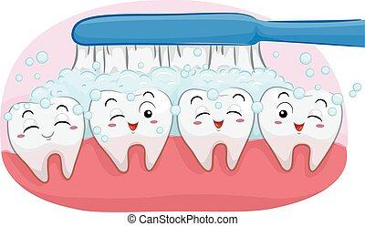 mascota, diente, ilustración, feliz, cepille dientes