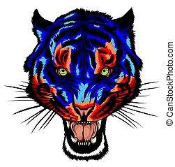 mascota, imagen, bigotes, cabeza, vector, tigre