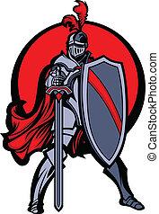 mascota Knight con espada y escudo
