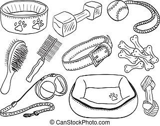 mascota, -, perro, ilustración, accesorios, equipo, hand-drawn