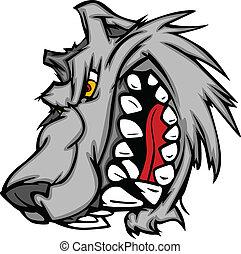 mascota, vector, lobo, caricatura, sna