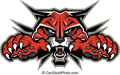 mascota, wildcat, cabeza