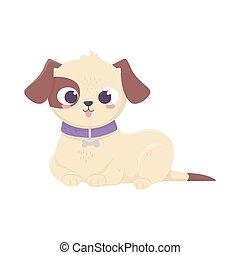 mascotas, acostado, perro, doméstico, caricatura, animal, lindo
