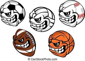 Mascotas de bolas de dibujos animados para juegos deportivos