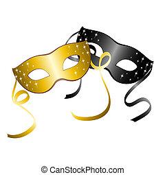 masks., carnaval, dos, vector