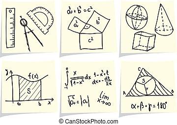 Matemáticas y iconos de geometría y fórmulas sobre las varillas amarillas