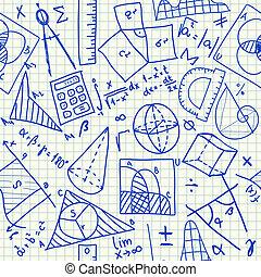 matemático, doodles, seamless, patrón