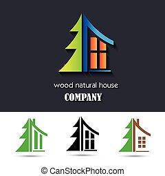 material, casa, símbolo, madera