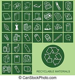 material, iconos, reciclable