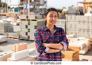 materiales de construcción, almacén, posar, mujer, trabajador