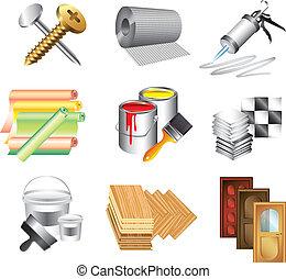 materiales de construcción, conjunto, vector, iconos