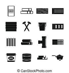 Materiales de construcción establecidos, estilo simple