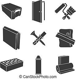 Materiales de construcción iconos