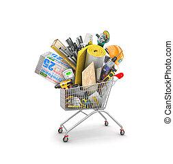 materiales, edificio, ilustración, carrito, compras, 3d, montón
