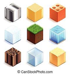 Materiales y texturas cubos vector de iconos fijados