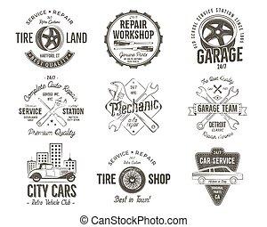 Matrículas de servicio de coches antiguas, etiquetas de reparación de garaje y colección de insignias. Diseño de colores retro. Bien para taller de reparaciones, subastas de autos clásicos, clubes, camisetas. Vector monocromo aislado