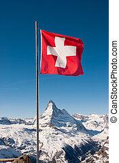 Matterhorn y suiza bandera