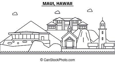 Maui, línea de arquitectura de Hawaii ilustración en el horizonte. Vector lineal Cityscape con puntos de referencia famosos, vistas de la ciudad, iconos de diseño. Landscape wtih derrames editables