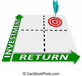 maximizar, regreso, matriz, su, flecha, inversión