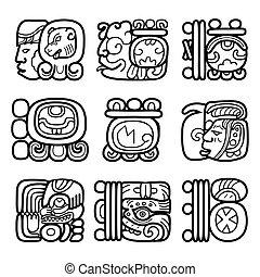 maya, glyphs, sistema, escritura
