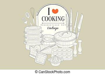 Me encanta cocinar, afiche de cosecha creativa con aparatos de cocina ilustraciones de vectores a mano