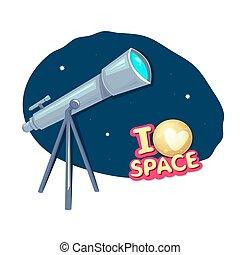 Me encanta el espacio, ilustración vectorial
