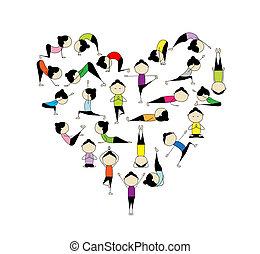 ¡Me encanta el yoga! Forma del corazón para tu diseño