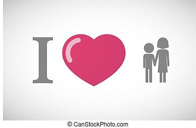 """""""Me encanta"""" jeroglífico con un pictograma de la infancia"""