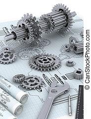 mecánico, concepto, ingeniería