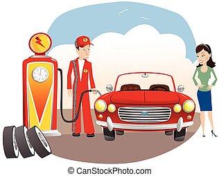 mecánico, gas, automóvil, relleno