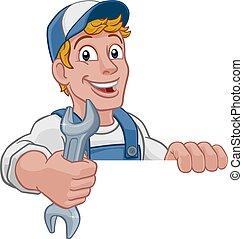 mecánico, llave inglesa, factótum, caricatura, llave inglesa, plomero