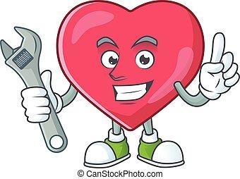 mecánico, mascota, médico, carácter, corazón, máquina, notificación, roto, aprieto