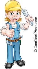 Mecánico o fontanero sosteniendo llave inglesa
