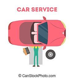 Mecánico tirado bajo el auto y reparando automóviles.